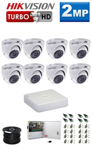 2Mp Custom HIKVISION Turbo HD Package - 8Ch DVR, 8 Dome Cameras