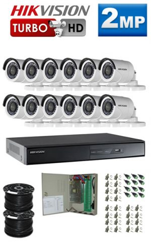 2Mp Custom HIKVISION Turbo HD Package - 16Ch DVR, 12 Bullet Cameras