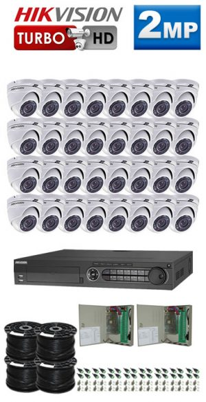 2Mp Custom HIKVISION Turbo HD Package - 32Ch DVR, 32 Dome Cameras