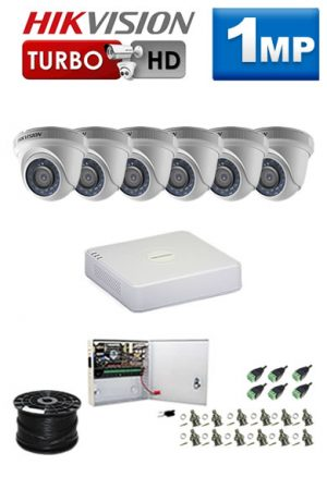 1Mp Custom HIKVISION Turbo HD Package - 8Ch DVR, 6 Dome Cameras