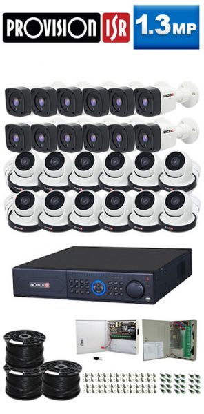 1.3Mp Custom ProVision TAHD Package - 32Ch DVR, 24 Bullet x Dome Cameras