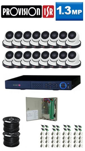 1.3Mp Custom ProVision AHD Package - 16Ch DVR, 16 Dome Cameras
