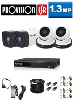 1.3Mp Custom ProVision AHD Package - 4Ch DVR, 4 Bullet x Dome Cameras