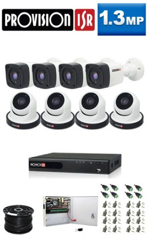 1.3Mp Custom ProVision AHD Package - 8Ch DVR, 8 Bullet x Dome Cameras