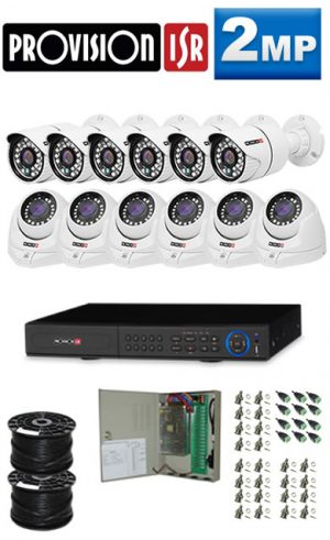 2Mp Custom ProVision Turbo AHD Package - 16Ch DVR, 12 Bullet x Dome Cameras