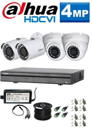 4Mp Custom Dahua HDCVI Package - 8Ch DVR, 4 Bullet & Dome Cameras (SW)