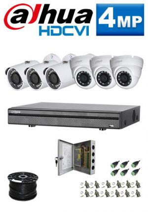 4Mp Custom Dahua HDCVI Package - 8Ch DVR, 6 Bullet & Dome Cameras (SW)