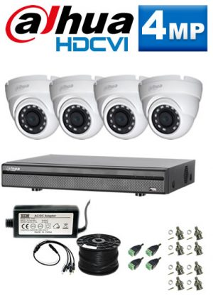 4Mp Custom Dahua HDCVI Package - 8Ch DVR, 4 Dome Cameras (SW)