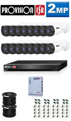 2MP Custom ProVision AHD Package - 1080P Lite 16Ch DVR, 16 Bullet Cameras (HT)