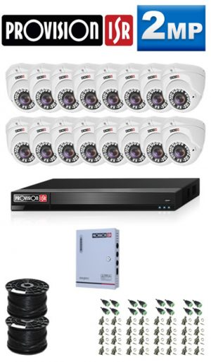2MP Custom ProVision AHD Package - 1080P Lite 16Ch DVR, 16 Dome Cameras (HT)