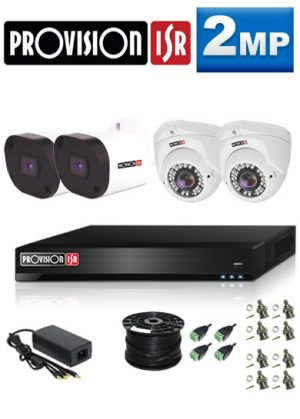 2MP Custom ProVision AHD Package - 1080P Lite 4Ch DVR, 4 Bullet & Dome Cameras (HT)