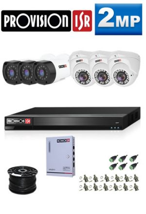 2MP Custom ProVision AHD Package - 1080P Lite 8Ch DVR, 6 Bullet & Dome Cameras (HT)