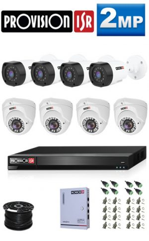 2MP Custom ProVision AHD Package - 1080P Lite 8Ch DVR, 8 Bullet & Dome Cameras (HT)