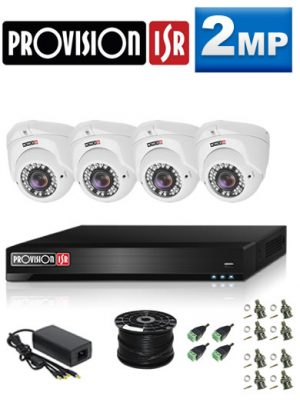 2MP Custom ProVision AHD Package - 1080P Lite 4Ch DVR, 4 Dome Cameras (HT)