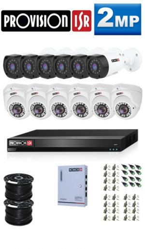 2MP Custom ProVision AHD Package - 1080P 16Ch DVR, 12 Bullet & Dome Cameras (HT)