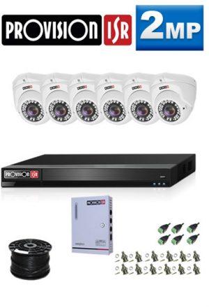 2MP Custom ProVision AHD Package - 1080P Lite 8Ch DVR, 6 Dome Cameras (HT)