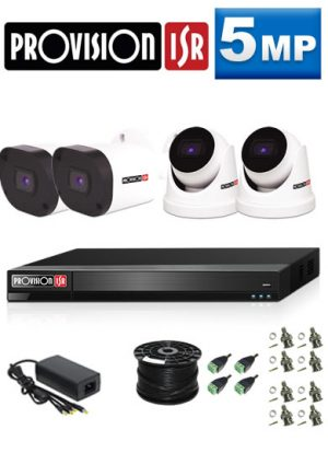 5Mp Custom ProVision AHD Package - 4Ch DVR, 4 Bullet & Dome Cameras (HT)