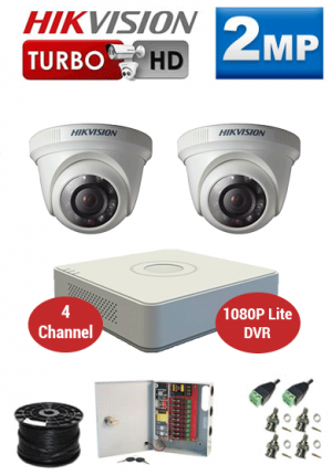 2MP Custom HIKVISION Turbo HD Package - 1080P Lite 4Ch DVR, 2 Dome Cameras