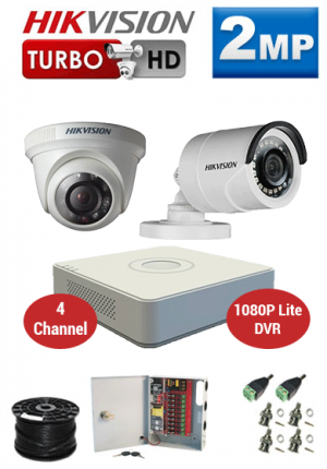 2MP Custom HIKVISION Turbo HD Package - 1080P Lite 4Ch DVR, 2 Bullet & Dome Cameras