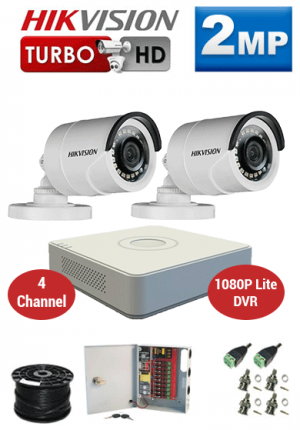 2MP Custom HIKVISION Turbo HD Package - 1080P Lite 4Ch DVR, 2 Bullet Cameras