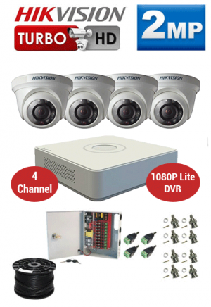 2MP Custom HIKVISION Turbo HD Package - 1080P Lite 4Ch DVR, 4 Dome Cameras