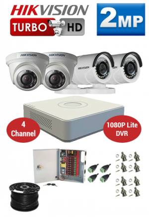 2MP Custom HIKVISION Turbo HD Package - 1080P Lite 4Ch DVR, 4 Bullet & Dome Cameras