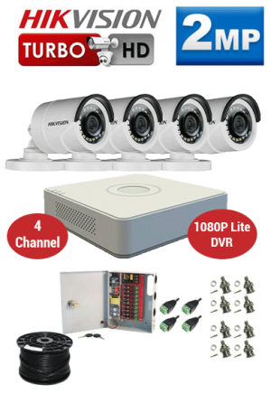 2MP Custom HIKVISION Turbo HD Package - 1080P Lite 4Ch DVR, 4 Bullet Cameras