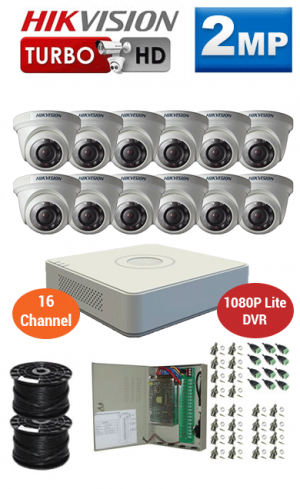 2MP Custom HIKVISION Turbo HD Package - 1080P Lite 16Ch DVR, 12 Dome Cameras