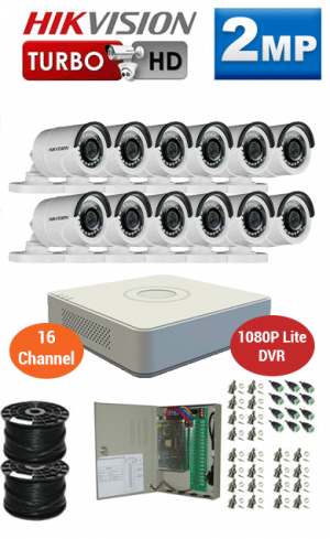 2MP Custom HIKVISION Turbo HD Package - 1080P Lite 16Ch DVR, 12 Bullet Cameras