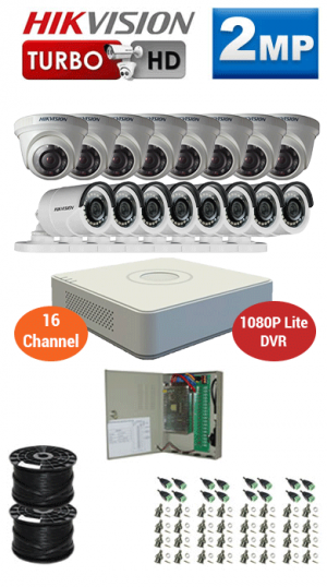 2MP Custom HIKVISION Turbo HD Package - 1080P Lite 16Ch DVR, 16 Bullet & Dome Cameras
