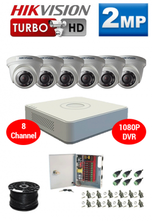 2MP Custom HIKVISION Turbo HD Package - 1080P 8Ch DVR, 6 Dome Cameras