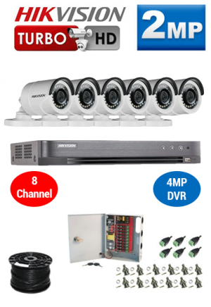 2MP Custom HIKVISION Turbo HD Package - 1080P 8Ch DVR, 6 Bullet Cameras