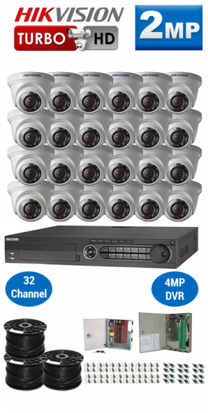 2MP Custom HIKVISION Turbo HD Package - 1080P 32Ch DVR, 24 Dome Cameras