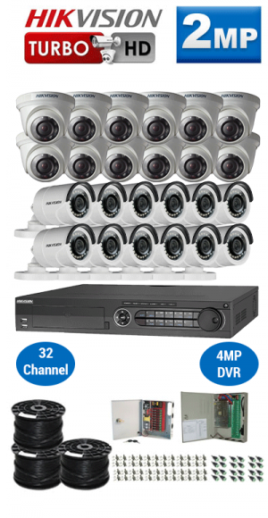 2MP Custom HIKVISION Turbo HD Package - 1080P 32Ch DVR, 24 Bullet & Dome Cameras