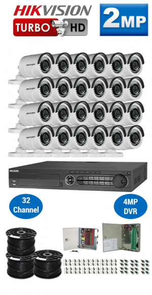 2MP Custom HIKVISION Turbo HD Package - 1080P 32Ch DVR, 24 Bullet Cameras