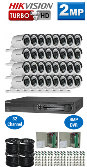 2MP Custom HIKVISION Turbo HD Package - 1080P 32Ch DVR, 32 Bullet Cameras