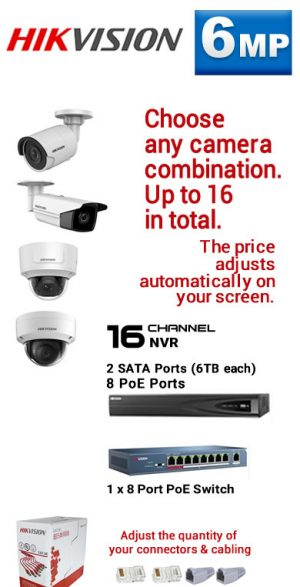 8) 16Ch 6MP 8PoE NVR - 2 SATA Ports (6TB each)