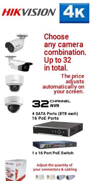 9) 32Ch 4K 16PoE NVR - 4 SATA Ports (8TB each)