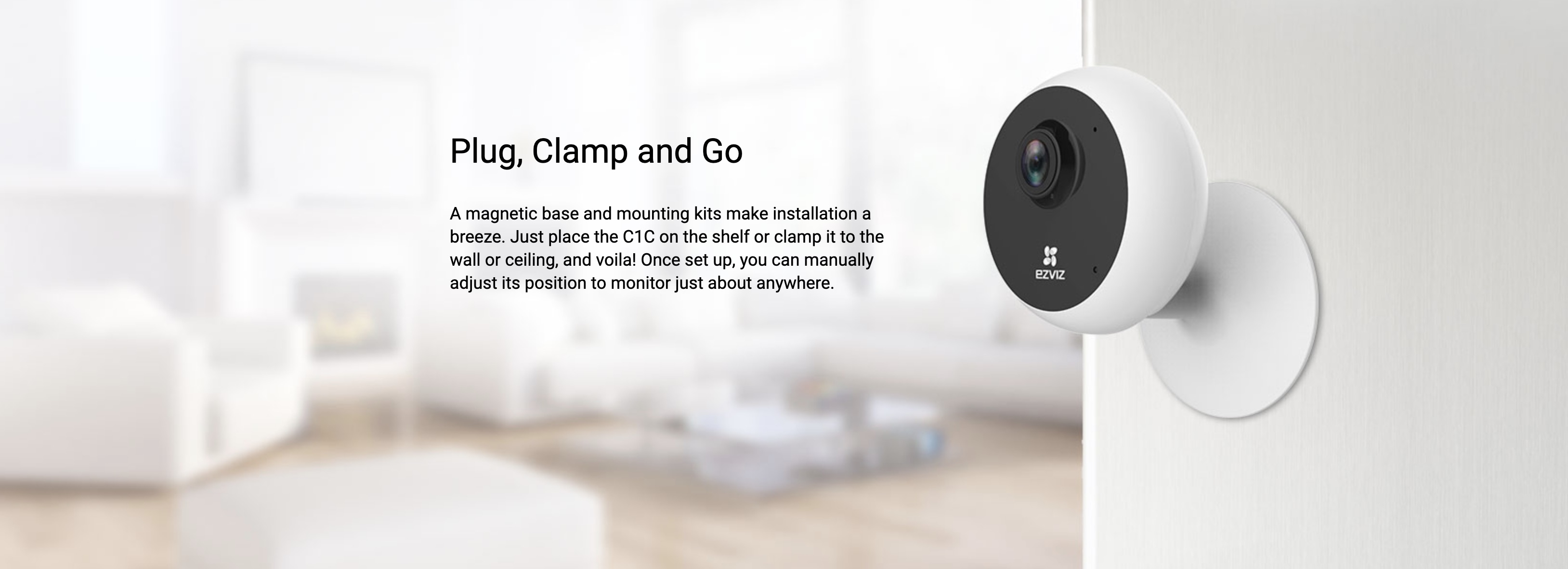 EZVIZ 720P, HD Internet WiFi IP Camera, Night Vision up to 12m, Two Way  Audio, Supports Micro SD card (Max  256G)