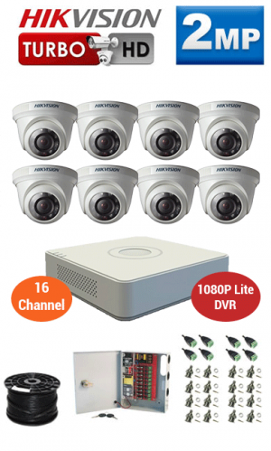 2MP Custom HIKVISION Turbo HD Package - 1080P Lite 16Ch DVR, 8 Dome Cameras