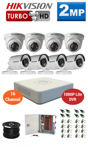 2MP Custom HIKVISION Turbo HD Package - 1080P Lite 16Ch DVR, 8 Bullet & Dome Cameras