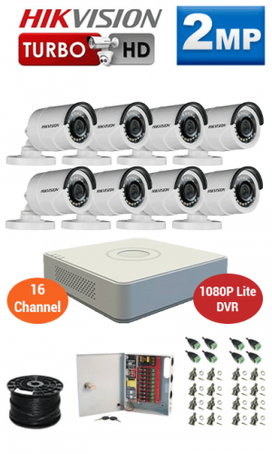2MP Custom HIKVISION Turbo HD Package - 1080P Lite 16Ch DVR, 8 Bullet Cameras