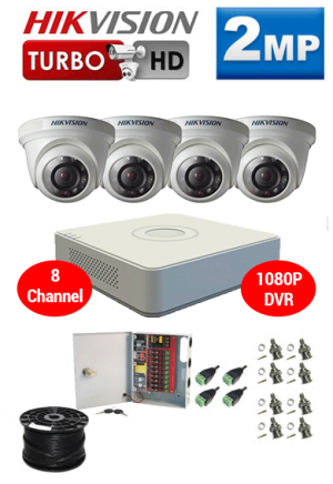 2MP Custom HIKVISION Turbo HD Package - 1080P 8Ch DVR, 4 Dome Cameras