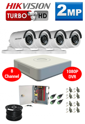 2MP Custom HIKVISION Turbo HD Package - 1080P 8Ch DVR, 4 Bullet Cameras
