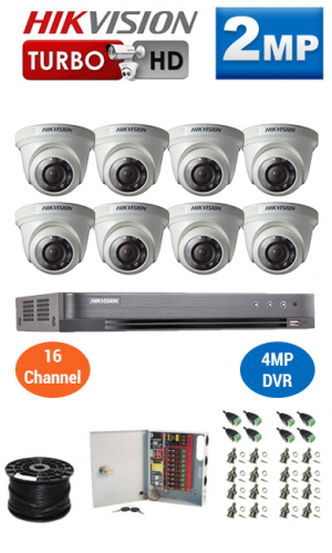 2MP Custom HIKVISION Turbo HD Package - 4MP 16Ch DVR, 8 Dome Cameras