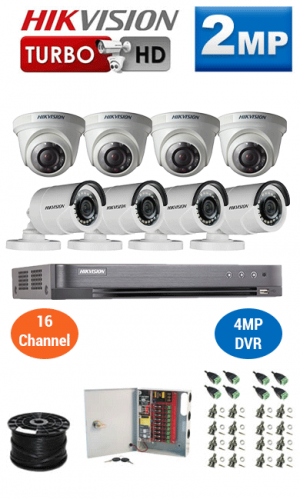 2MP Custom HIKVISION Turbo HD Package - 4MP 16Ch DVR, 8 Bullet & Dome Cameras