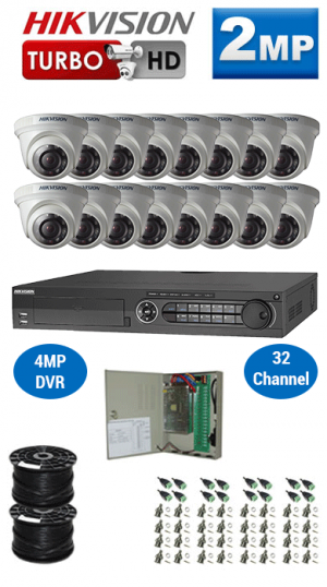 2MP Custom HIKVISION Turbo HD Package - 1080P 32Ch DVR, 16 Dome Cameras