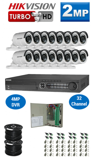 2MP Custom HIKVISION Turbo HD Package - 1080P 32Ch DVR, 16 Bullet Cameras