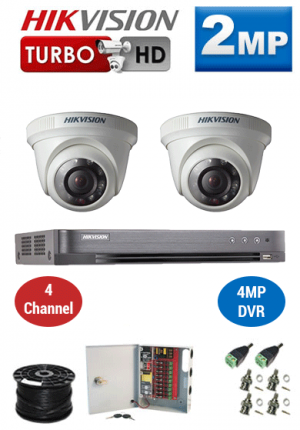 2MP Custom HIKVISION Turbo HD Package - 1080P 4Ch DVR, 2 Dome Cameras
