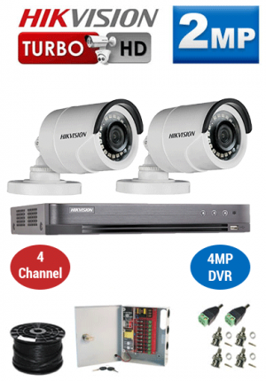 2MP Custom HIKVISION Turbo HD Package - 1080P 4Ch DVR, 2 Bullet Cameras